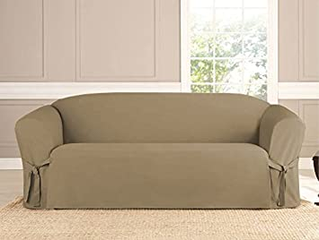 Kashi Micro Suede Slipcover Sofa Loveseat Chair Furniture Cover Taupe