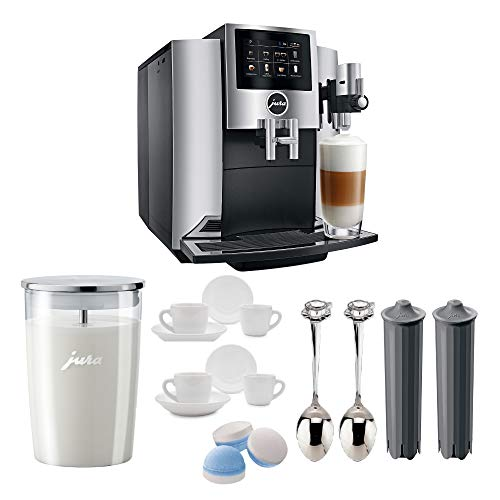JURA S8 Automatic Coffee Machine with PEP, Chrome Includes Milk Container, 2 Smart Filter Cartridges, Cleaning Tablets, 2 Demi Spoons and 2 Espresso Cups Bundle