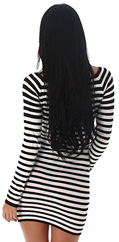 Jela London - Vestido - Estuche - Rayas - Manga Larga - para mujer negro