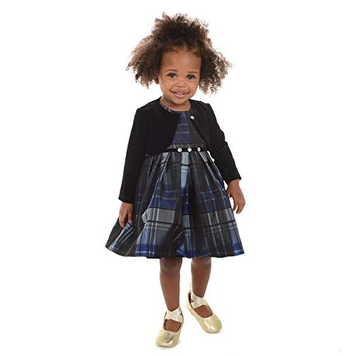 Pastourelle by Pippa & Julie Baby Girls Holiday Dress with Velvet Shrug, Blue Plaid, 12M -