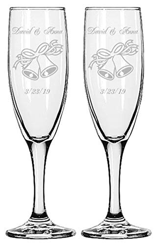 Glass Wedding Bell - Gifts Infinity Engraved Wedding Champagne Flutes Set of 2 Personalized Toasting Glasses (Wedding Bells)