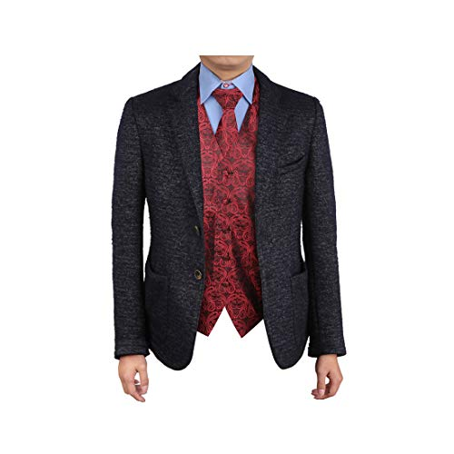 Dark Red Black Patterns Microfiber Gift Certificate For Club Waistcoat Neck Tie Set EGD1B05A-4XL By Epoint