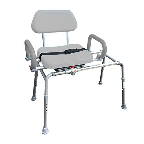 Carousel Sliding Transfer Bench with Swivel Seat. Premium Padded Bath and Shower Chair with Pivoting Arms. Space Saving Design for Tubs and Shower. from Platinum Health