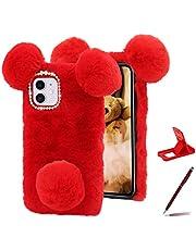 Herzzer Cute Panda Bear Case for Google Pixel 4A 2020,Fashion Bowknot Crystal Pom Pom Faux Warm Furry Winter Fluffy Plush Soft TPU Back Cover,Red