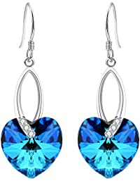 925 Sterling Silver CZ Love Heart French Hook Dangle Earrings Bermuda Blue Made with Swarovski Crystals