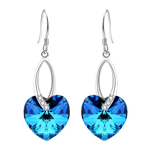 EleQueen 925 Sterling Silver CZ Love Heart French Hook Dangle Earrings Bermuda Blue Made with Swarovski Crystals ()