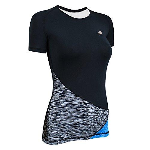 ROUGH RADICAL Damen Funktionsshirt T-Shirt Laufshirt REACTION (M, schwarz/grau/türkis)