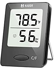 Habor Digital Thermometer Hygrometer , [Mini Style] Accurate Indoor Temperature and Humidity Meter Monitor with LCD Display for Home Office Comfort, Lifetime Replacement Guarantee (White)