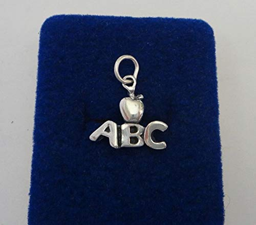 Sterling Silver 18x18mm School Teacher ABC with Apple Charm!