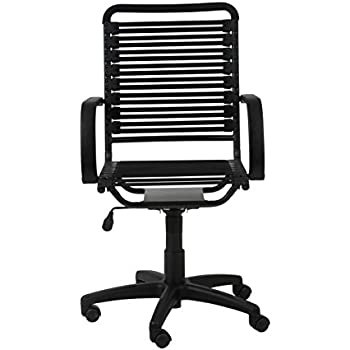 Euro Style Flat Bungie High Back Adjustable Office Chair With Arms, Black  Bungies With Graphite Black Frame