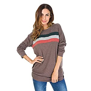 DAYSOFT Women O Neck Long Sleeve Striped Color Block Patchwork Blouse Pullover Sweaters Hoodie Tunic Tops (Brown, S)