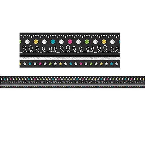 (Teacher Created Resources TCR5619BN Chalkboard Brights Straight Border Trim, 35' Per Pack, 6)