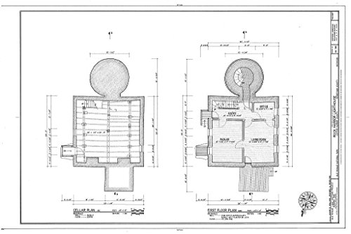 - Blueprint Diagram HABS MICH,42-COPHAR.V,2- (Sheet 2 of 7) - Rock Harbor Lighthouse, Copper Harbor, Keweenaw County, MI 12in x 08in