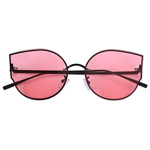gato moda lujo UV400 sol amp; S17014 Gafas TOOGOO de de grande ojo de rojo de de de mujer negro sol Gafas gafas negro de marco q0XxUFxZw