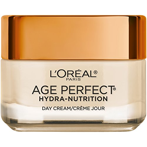 - Face Moisturizer by L'Oreal Paris, Age Perfect Hydra-Nutrition Day Cream with Manuka Honey Extract and Nurturing Oils, Anti-Aging Cream to Firm and Improve Elasticity on Dry Skin, Paraben Free, 1.7 oz