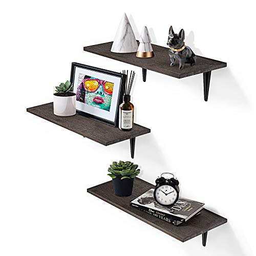 FTLL Wall Hanging Floating Shelves 3 Pack, 7.8inch Wide Heavy Duty Wooden Wall Storage Shelves for Bedroom, Living Room, Bathroom, Kitchen and Office