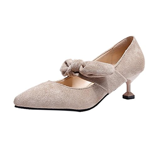 PENATE Women Fashion Suede Heeled Sandals Summer Slim High Heel Bowknot Pointed Toe Casual Wedge Shoes (5.5 B(M) US, Beige)