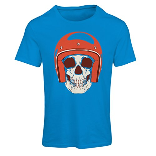 T Shirts for Women Moto Skull with Cap Helmet- Motorcycle Clothing, Motorbike Apparel, Riding Gear (XX-Large Blue Multi Color)