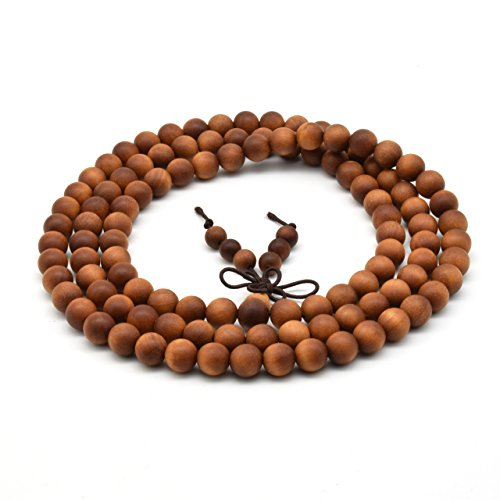 Wooden Prayer Beads - Zen Dear Unisex Teak Wood Prayer Beads Buddha Buddhist Beads Necklace Bracelet Beads (8mm 108 beads)