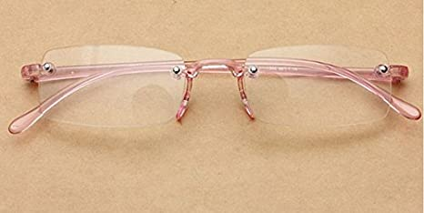 9cc8bea12f Amazon.com  Pink Rimless Light Presbyopic Reading Glasses Fatigue Relieve  Strength 1.0 1.5 2.0 2.5 3.0 by Shopidea (Strength 1.0)  Health   Personal  Care