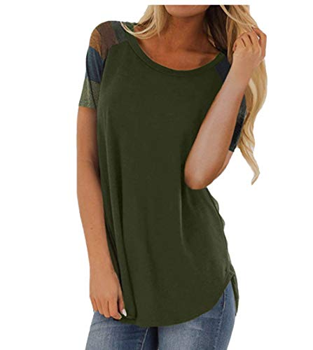 Women Casual Shirts Color Block Long Sleeve Striped Loose Tunic Sweatshirts Top (Short Sleeve Army Green, XXL)