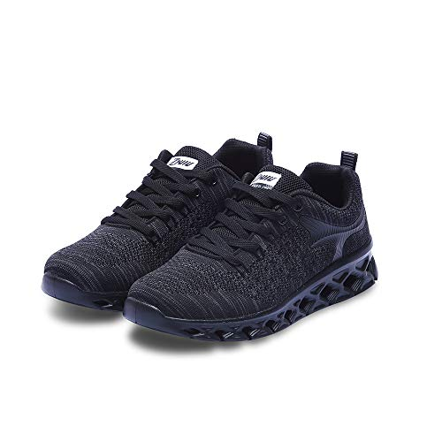DISKARY Men's Fashion Sneakers Lightweight Breathable Mesh Casual Athletic Sports Running Shoes (7 D(M) US, Black)