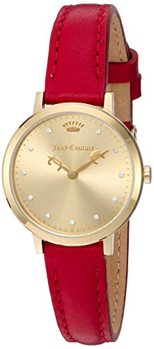 Juicy Couture Women's 'LA Ultra Slim' Quartz Gold-Tone and Leather Automatic Watch, Color:Red (Model: 1901454)
