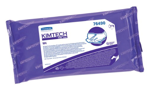 Kimberly-Clark Kimtech 76490 Pure Disposable Wiper with W4 Pre Saturated Sterile, 11'' Length x 9'' Width, White, (10 Pouches of 40) by Kimberly-Clark Professional