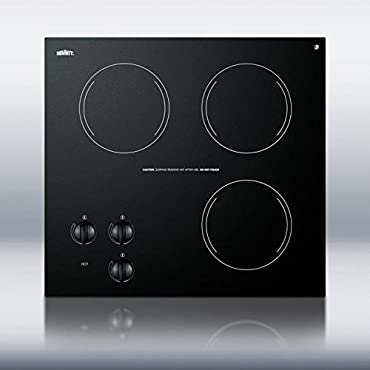 Summit Appliance CR3240 21 in. Radiant Electric Cooktop in Black with 3 Elements