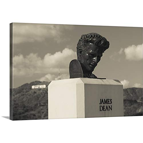 GREATBIGCANVAS Gallery-Wrapped Canvas Entitled Bust of Actor James Dean, Griffith Park Observatory, Los Angeles, California by ()