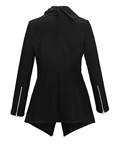 Autunnale Donna Zip Fit Lunga Manica Calda Slim Asimmetrico Irregolare Lungo Inverno Con Nero Outerwear Elegante Cappotto Invernale Vintage Giacca Classica Cappotti Risvolto 4xS84Z