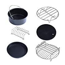 HOKUGA: 6pcs/set 7 Inch Air Frying Pan Accessories Fryer Baking Basket Pizza Plate Grill Pot Mat Multi-functional Kitchen Accessory