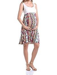 Women's Maternity Knee Length Printed Tank Dress
