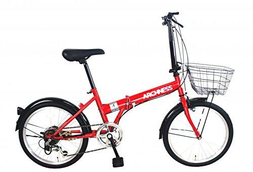 ARCHNESS 206-B 折りたたみ自転車 20インチ カゴ付 シマノ 6段 変速 B01NATO8NUレッド