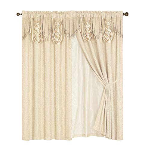 (Luxury Embroidered Curtain Set. 2 Piece Cream Beige Drapes with Backing & Valance & Tie Backs)