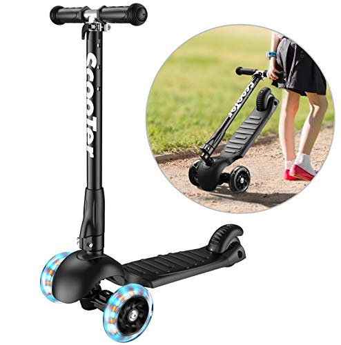 Banne Scooter Height Adjustable Lean to Steer Flashing PU Wheels 3 Wheel Kick Scooters for Kids Boys Girls (Black) (Best 2 Wheel Balancing Scooter)