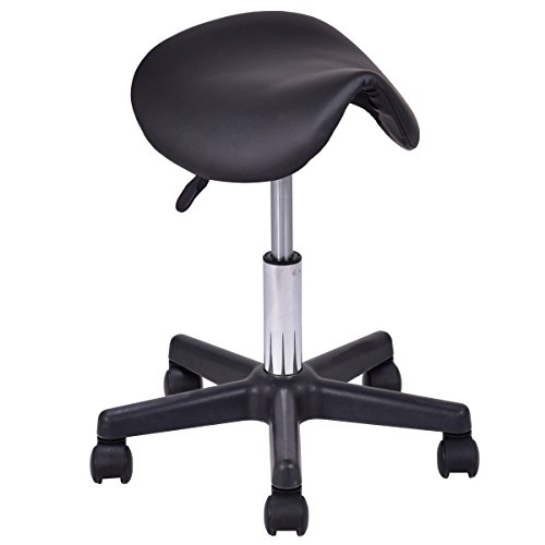 Giantex Adjustable Saddle Salon Stool Hydraulic Massage Tattoo Facial Spa Backless Swiveling Chair (Black)