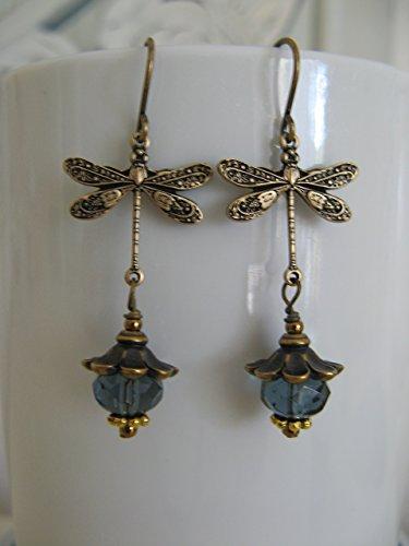 Dragonfly Denim (Denim Blue Czech Glass Bronze Dragonfly Earrings Dangling Vintage Style Artisan Boho)