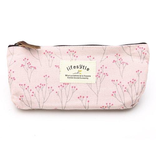 Blume Bleistift Feder Tasche Kosmetik Make-up Tool Bag Aufbewahrungstasche Geldbeutel Beutel Rosa