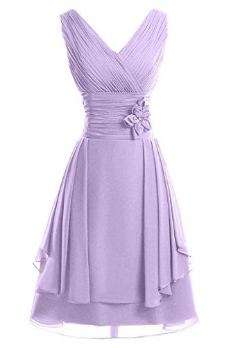 ivyd ressing Femme col V avec fleurs ligne A court Demoiselle d'Honneur Prom robe robe du soir -  Violet - 36