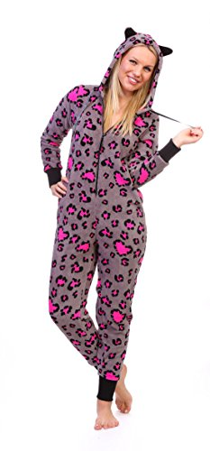 Cozy Pink Pajamas (Totally Pink Women's Warm and Cozy Plush Onesie Pajama (Small, Pink Grey Leopard))