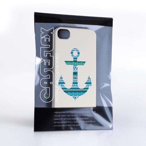Caseflex Coque iPhone 4 / 4S Etui Bleu Aztec Ancre Dur Housse