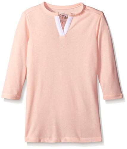 Sleeve Split Neck Tunic (Scout + Ro Little Girls' Three-Quarter Sleeve Split-Neck Tunic, Gossamer Pink, 5)
