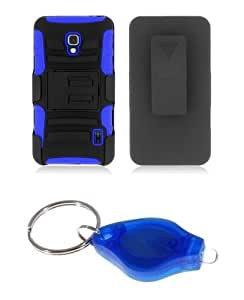 Black and Blue Dual Layer Hybrid Tuff Armor Kickstand Hard Gel Case + Swivel Belt Clip Holster + Atom LED Keychain Light for LG Optimus F6