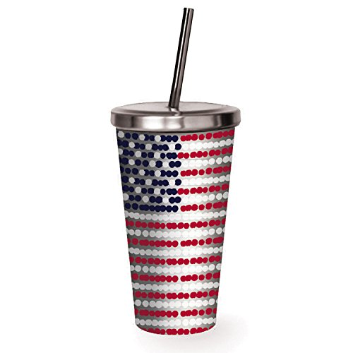 Cypress Home American Flag Stainless Steel Insulated Travel Cup, 16 ounces