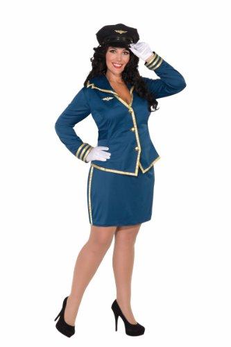 [Forum Novelties Women's Plus-Size Cockpit Cutie Pilot Costume, Blue/Gold, Plus] (Woman Pilot Halloween Costume)