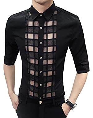 Men's Sexy See Through Half Sleeve Shirt