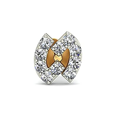 Belle Diamante 18KT Yellow Gold and Diamond Nose Pin Nose Rings & Pins at amazon