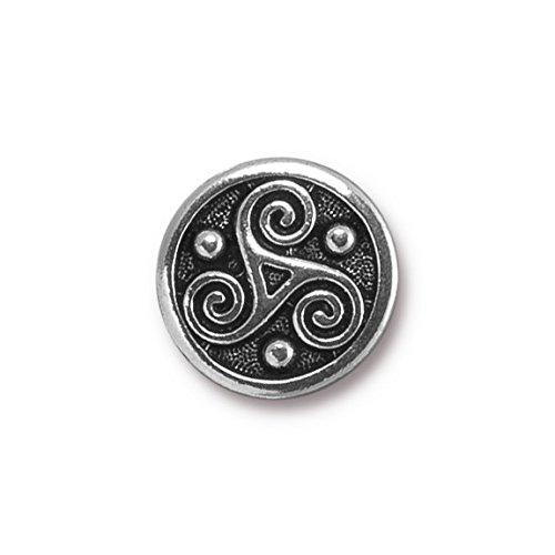 TierraCast Button Triskle, 16mm, Antique Silver