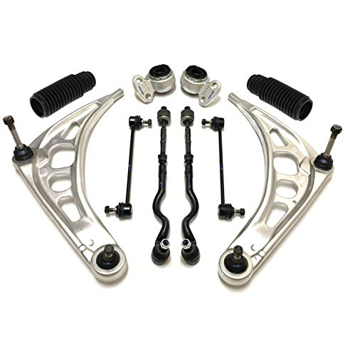 PartsW 12 Pc New Suspension Kit for BMW 320i 323i 325Ci 328Ci 330Ci Z4 / Lower Control Arms with Ball Joints Driver & Passenger Side, Rack and Pinion Bellow Boots, Tie Rod End & Sway Bars ()